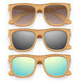 Set of Vintage sunglasses with wooden frame Retro vector image