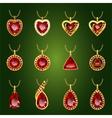 Set of red rubies pendants vector image