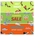 Best summer sale of sneakers sport shoes banners vector image
