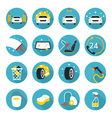 Car Wash Objects icons Set vector image