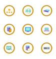 database icons set cartoon style vector image