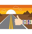 Hand with hippy friendship bracelets hitchhiking vector image