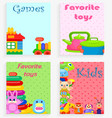 kids favorite toys and games colorful poster vector image