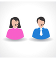 male or female call center worker concept vector image