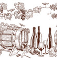 seamless horizontal borders of sketch wine icons vector image
