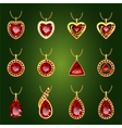 Set of red rubies pendants vector image