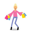 Young happy fashionable blond girl standing with vector image