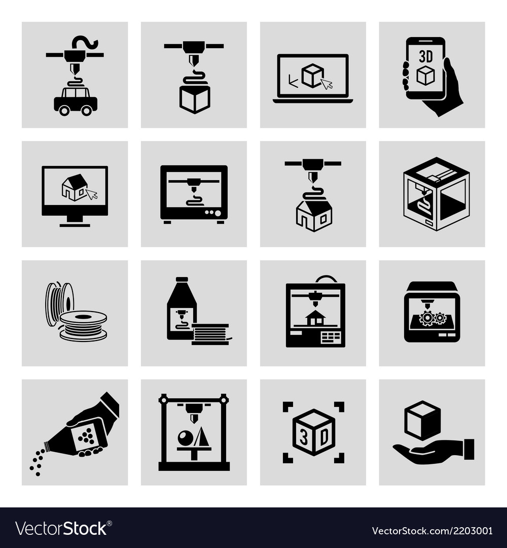 Printer 3d icons set vector