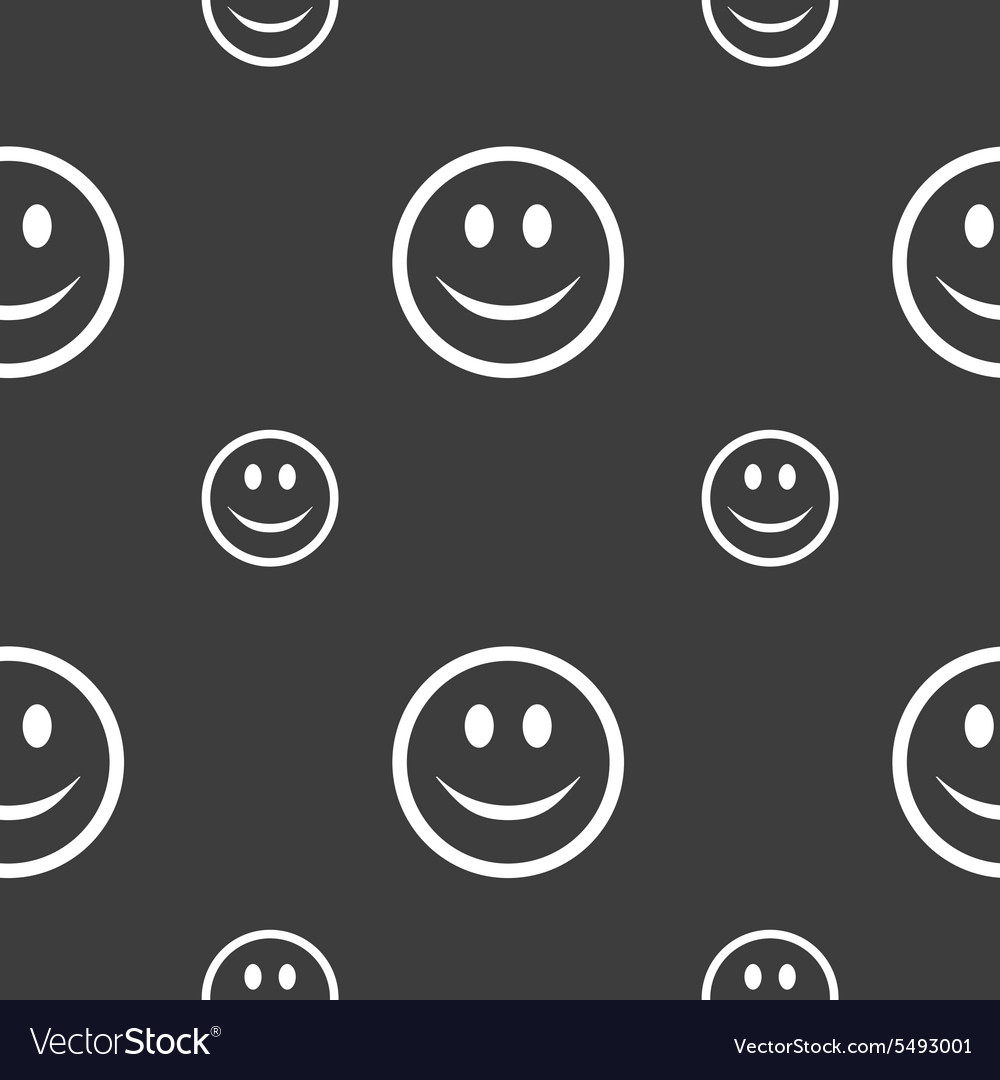 Smile happy face icon sign seamless pattern on a vector