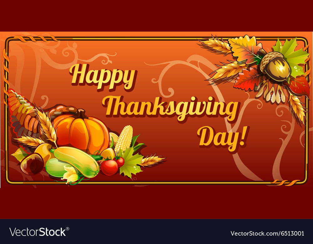 Thanksgiving day card on an orange background vector
