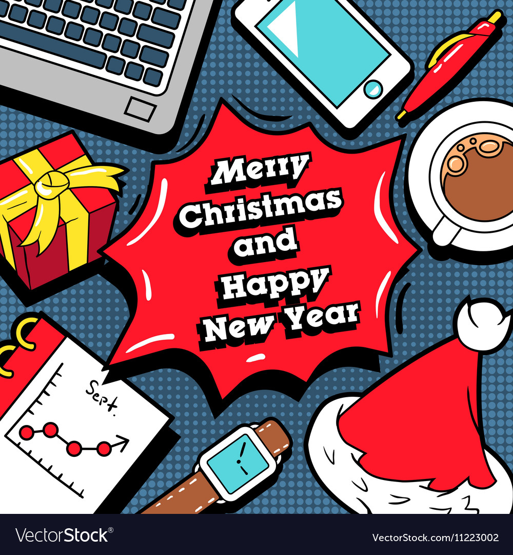 Christmas and new year business greeting card vector