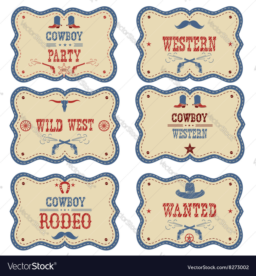 Cowboy labels isolated on white western cowboy vector