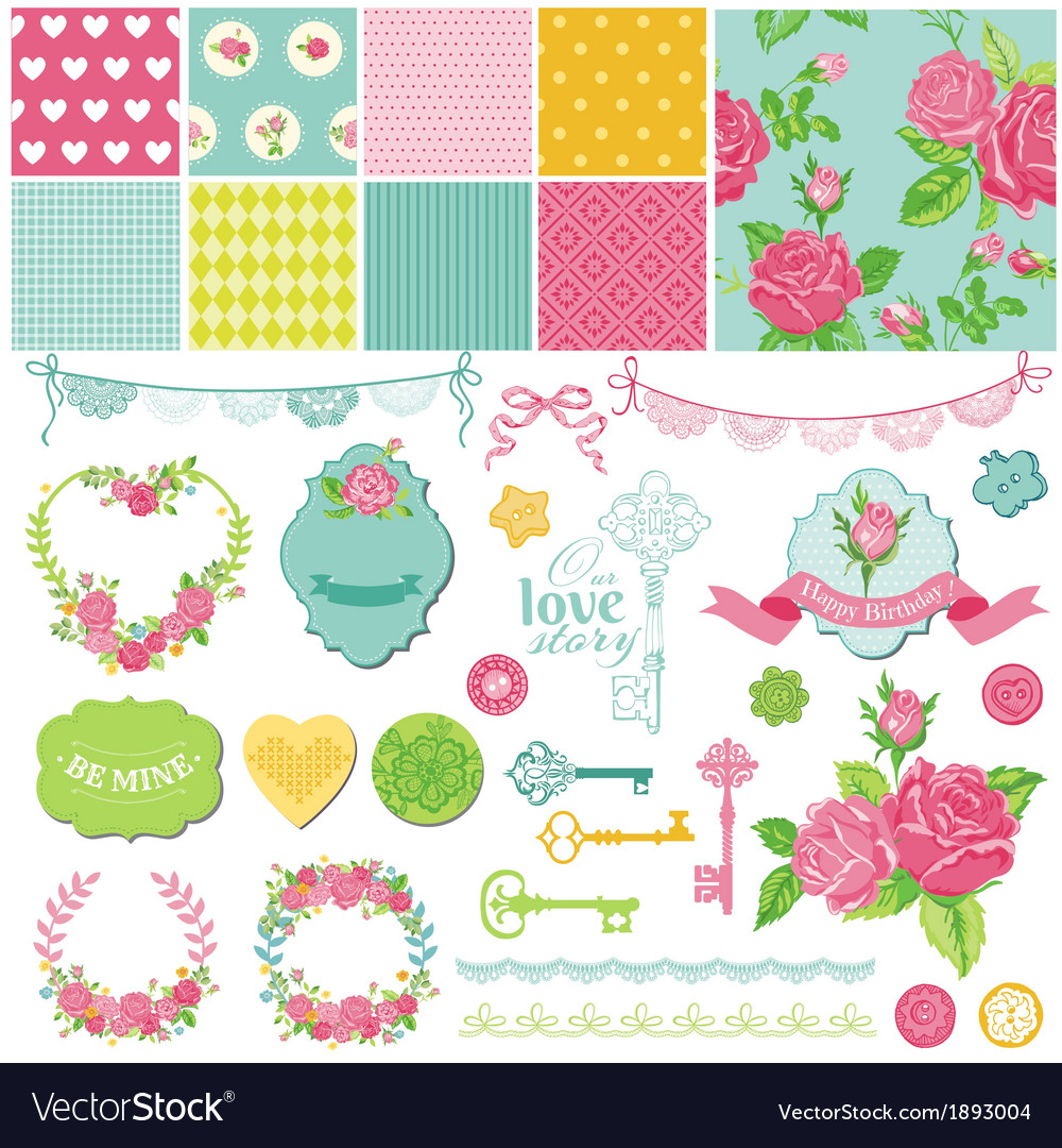 Design elements  floral shabby chic theme vector