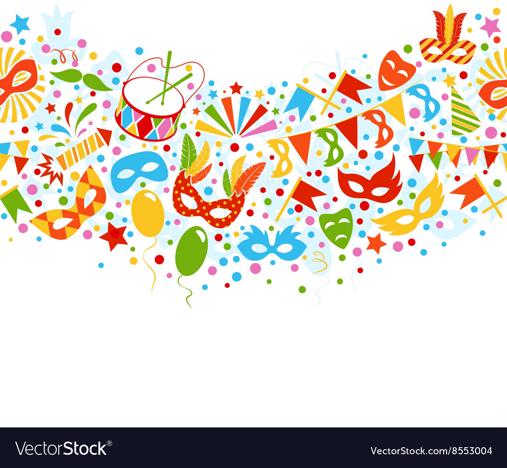 Festive seamless carnival masquerade card isolated vector