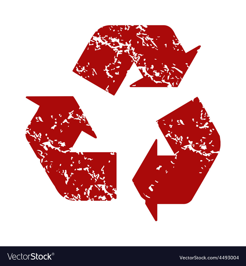 Red grunge recycling logo vector