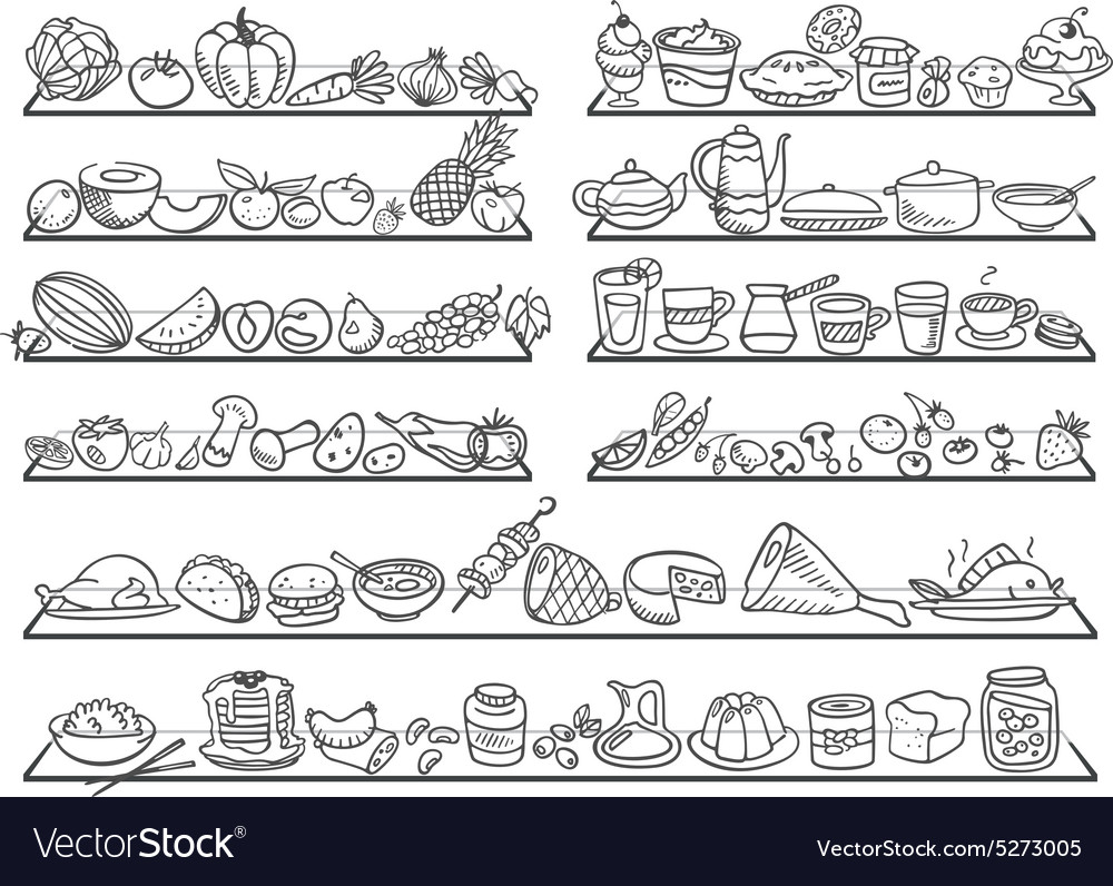 Doodle food icons vector