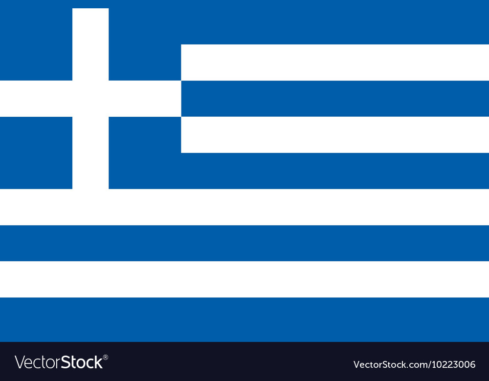 Flag of greece in correct proportions and colors vector