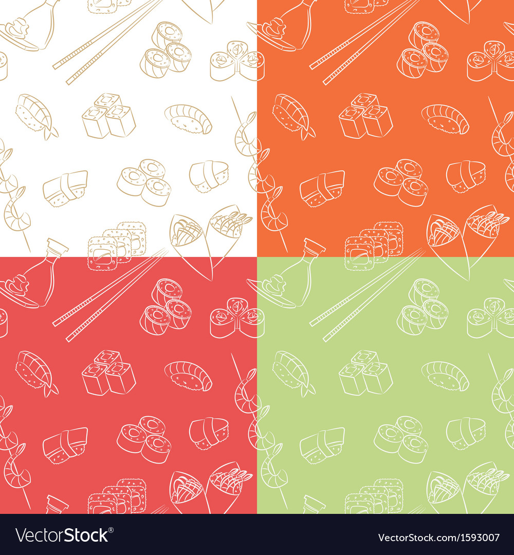 Japanese food pattern vector