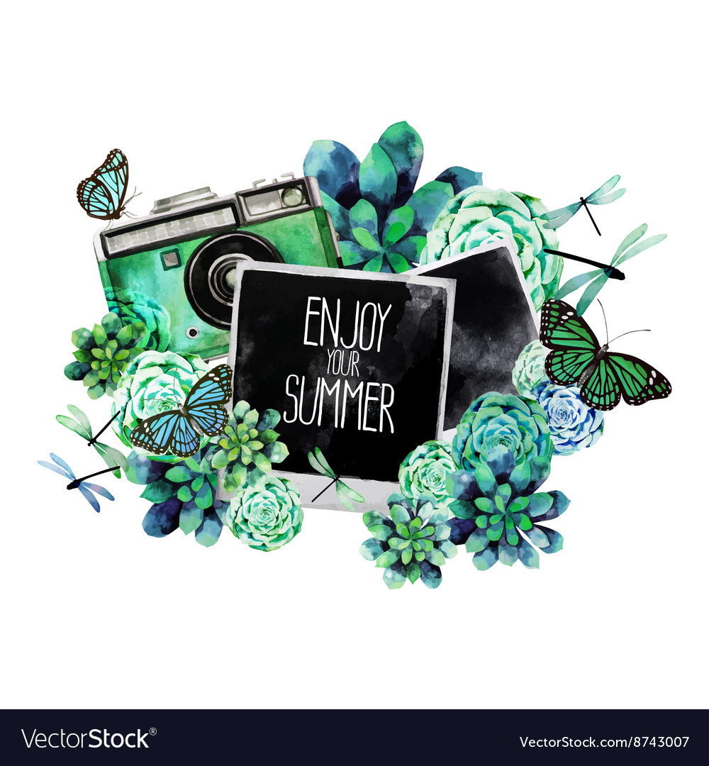 Watercolor design with succulents and photo vector