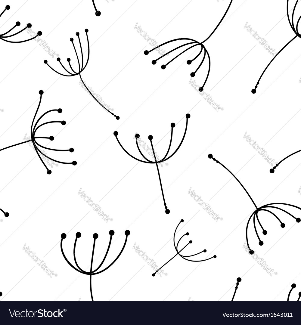 Dandelion seamless pattern for your design vector