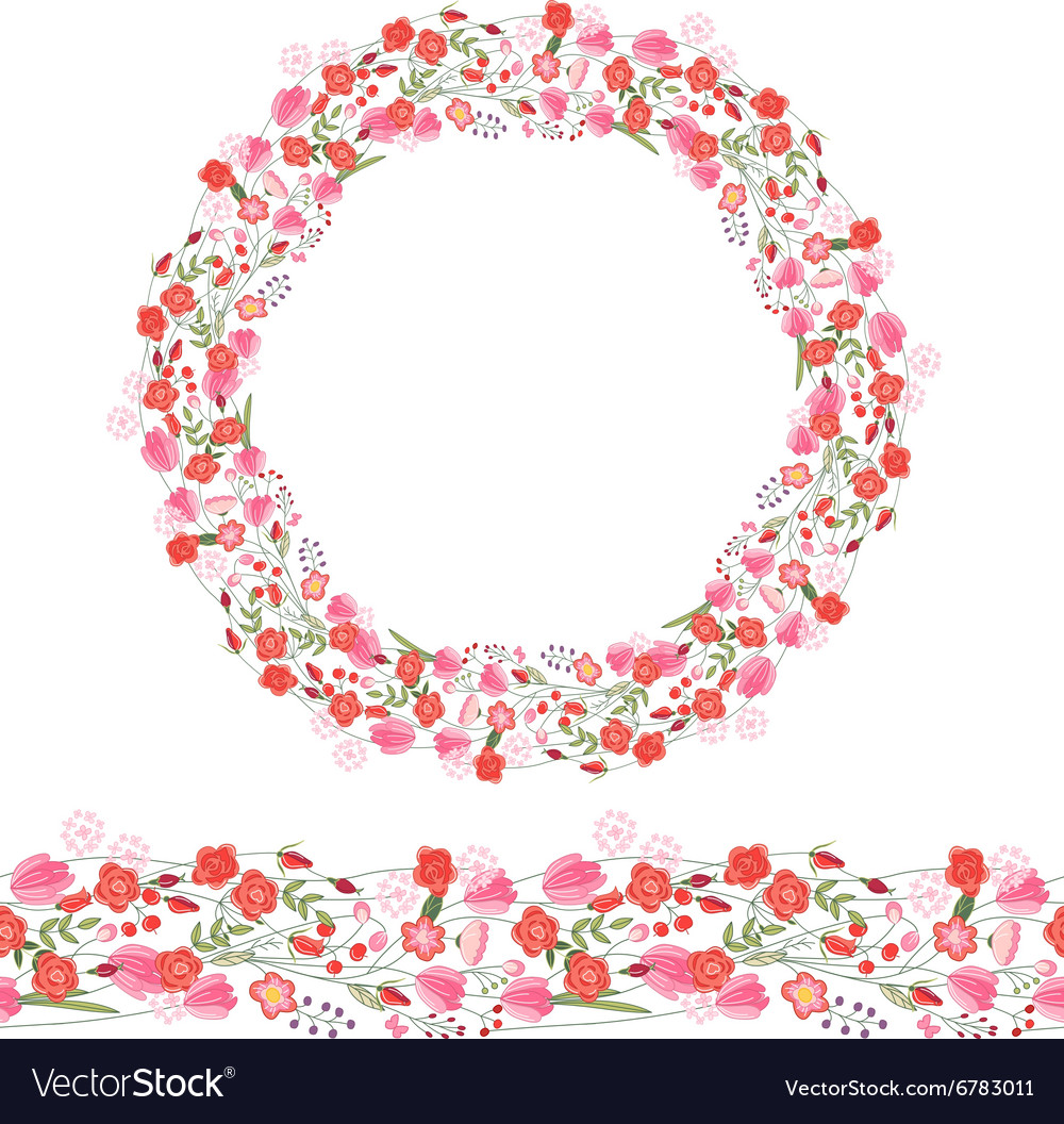 Round garland and seamless pattern brush with vector