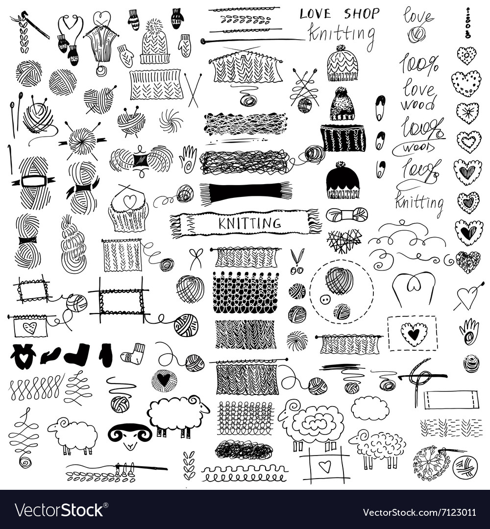 Set of knitting and crafts vector