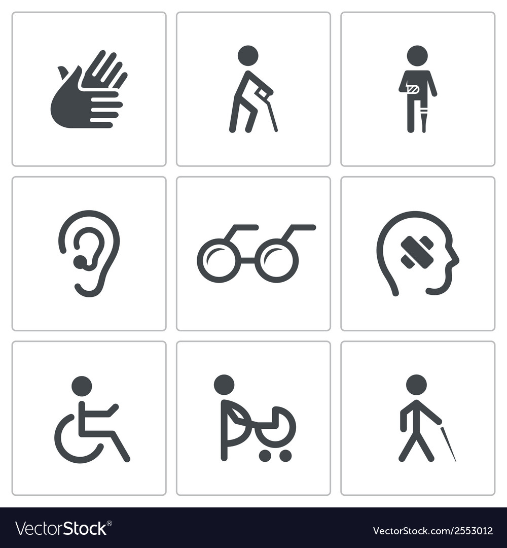 Disability icon collection vector