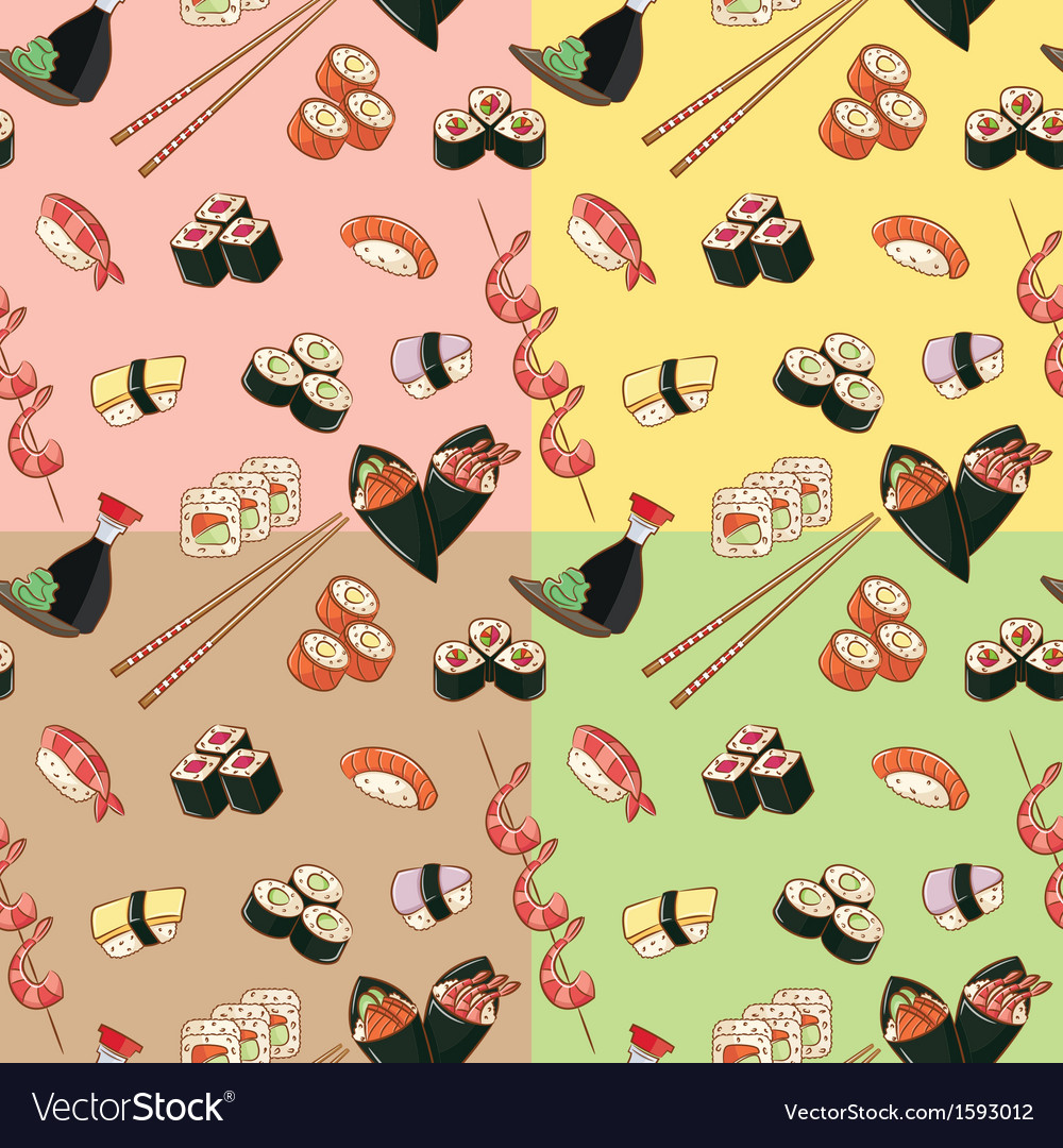 Seamless patterns with japanese food vector