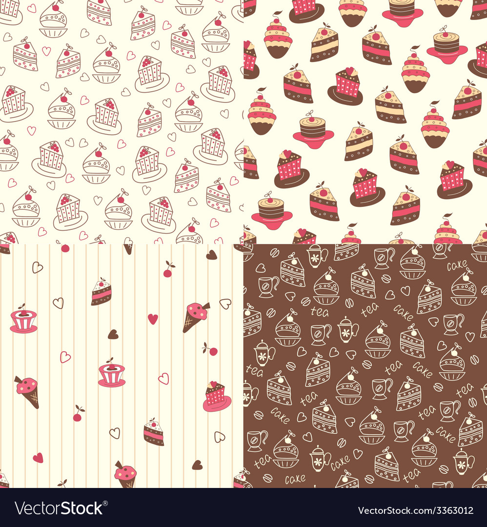 Set of cake seamless patterns vector