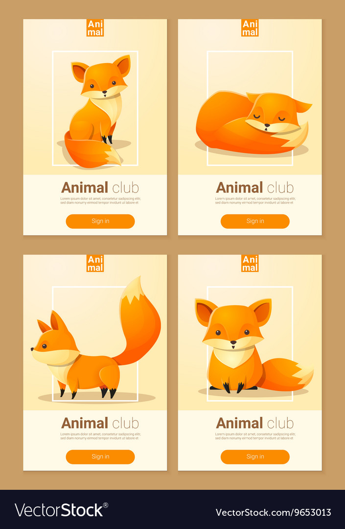 Animal banner with foxes for web design 1 vector