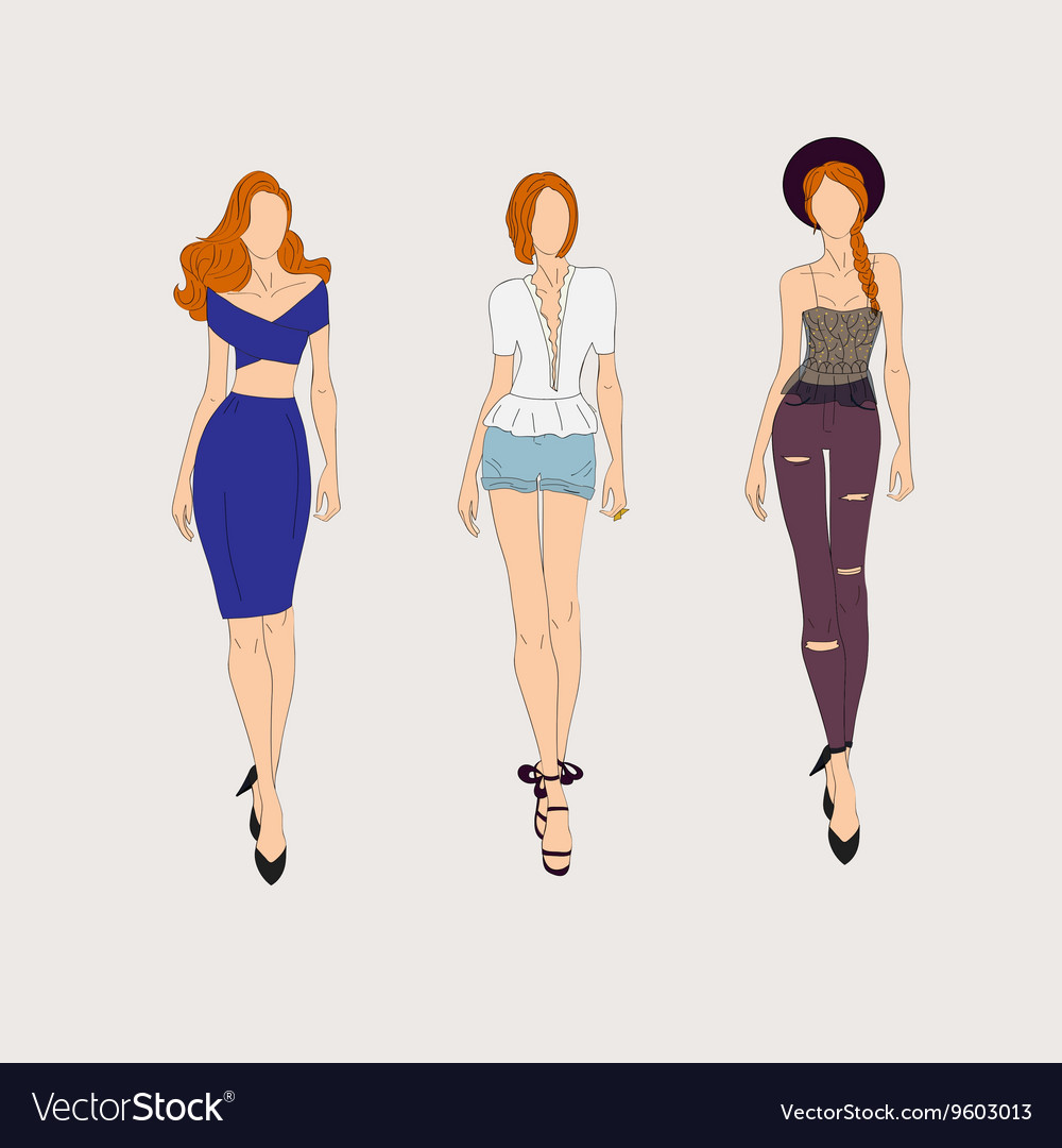 Hand drawn fashion models vector