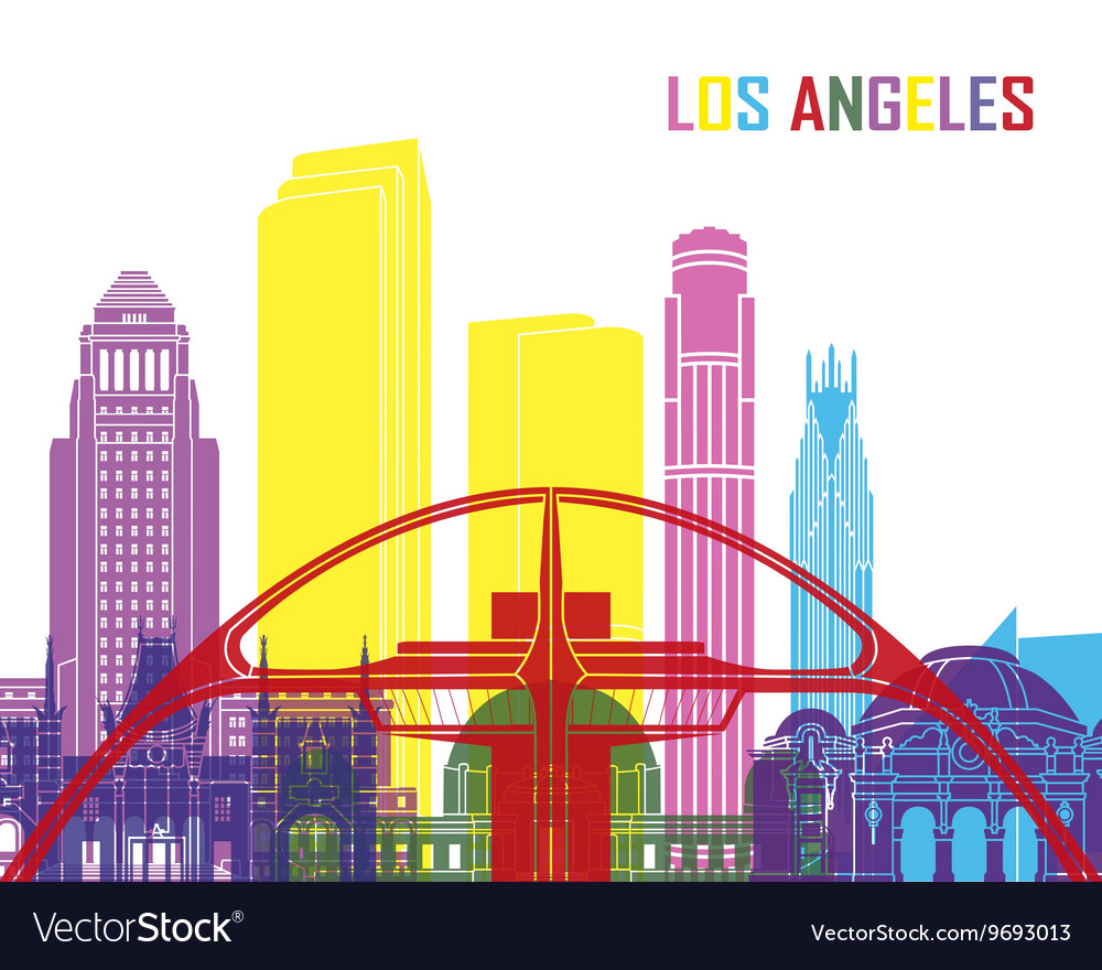 Los angeles skyline pop vector