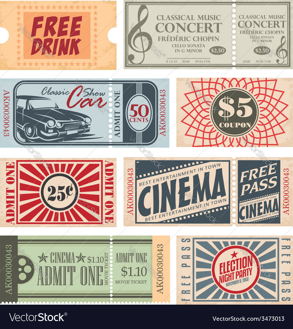 Retro tickets and coupons vector