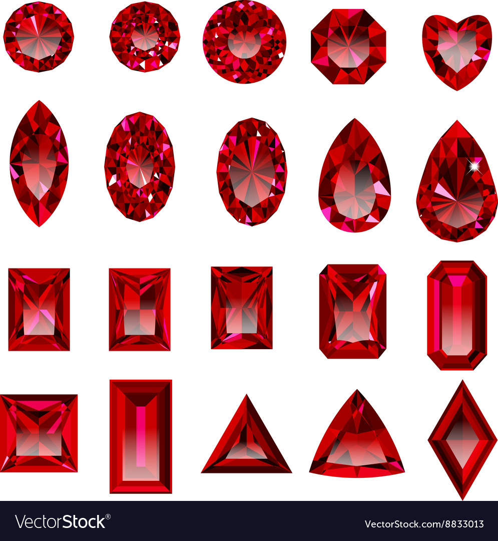 Set of realistic red rubies with different cuts vector