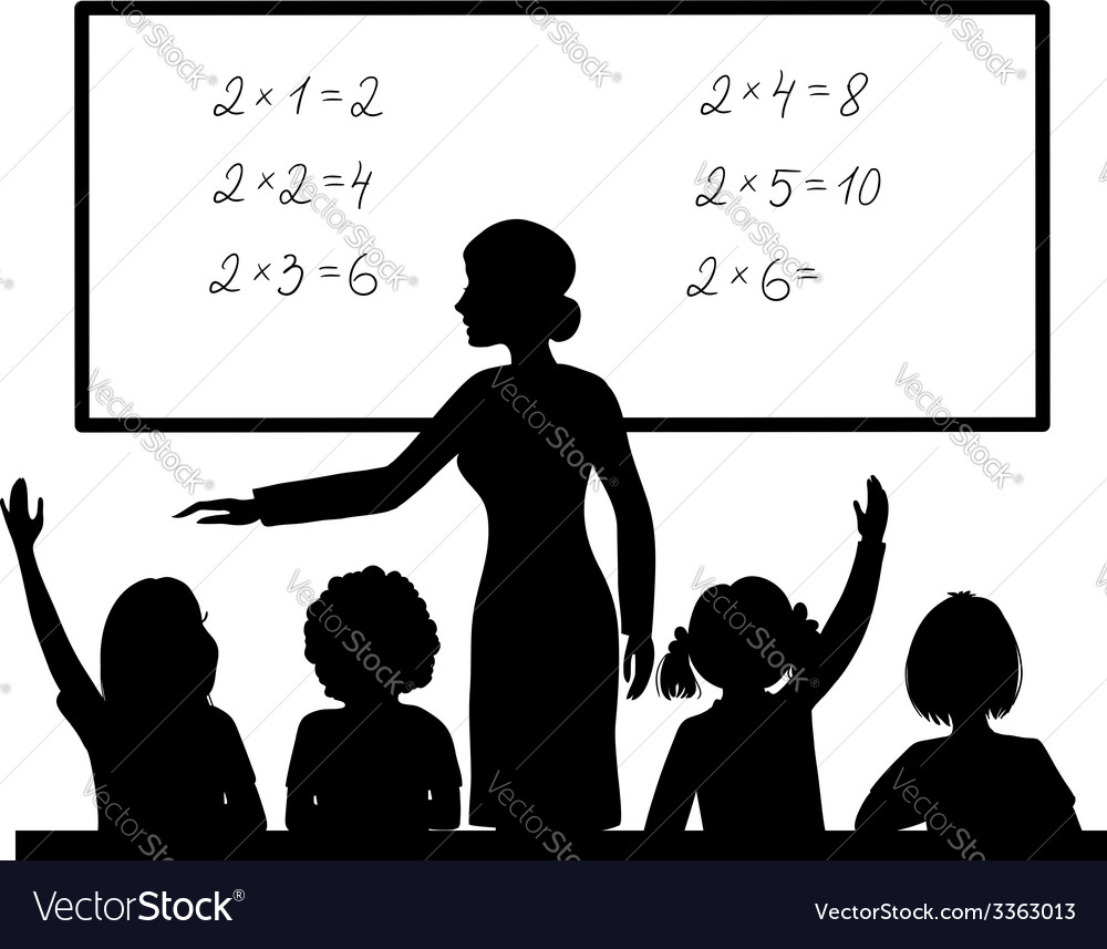 Teacher at blackboard in the classroom with vector