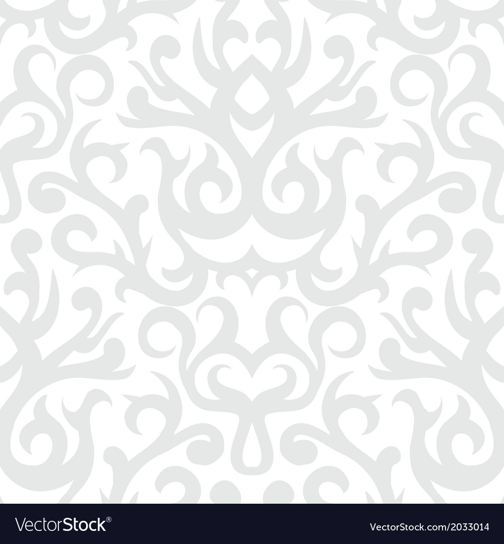 Damask pattern in white and silver vector