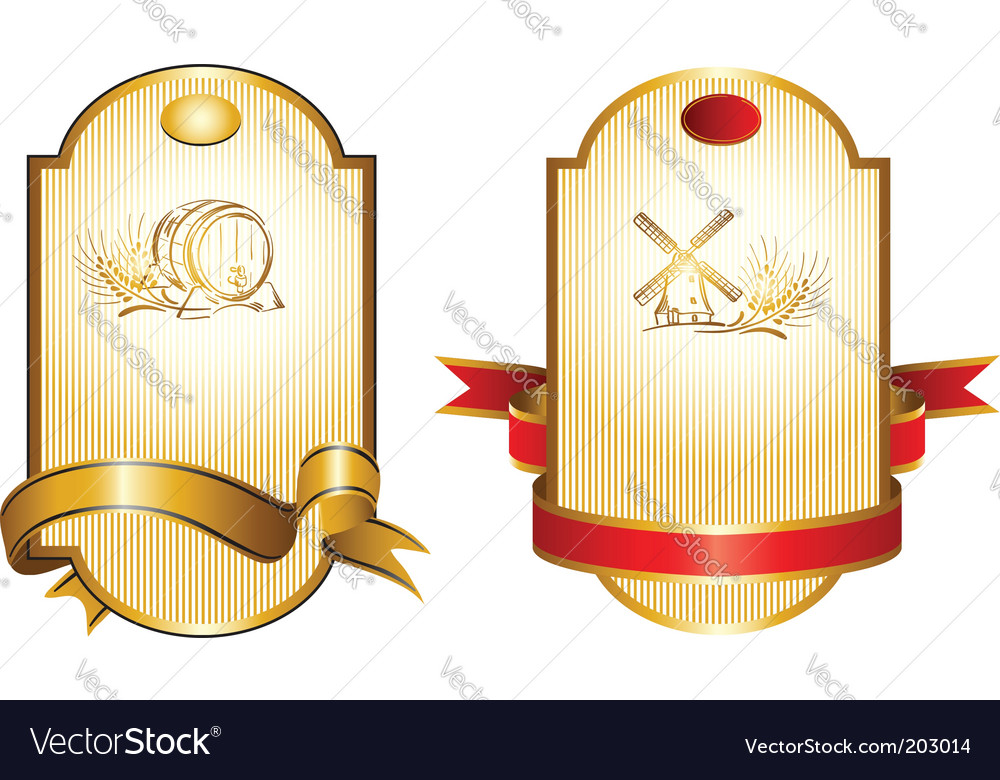 Gold drink label vector