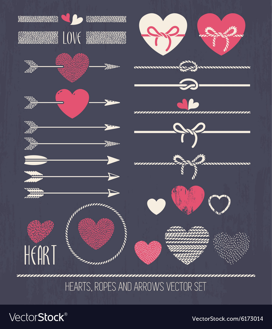 Hearts ropes and arrows vector