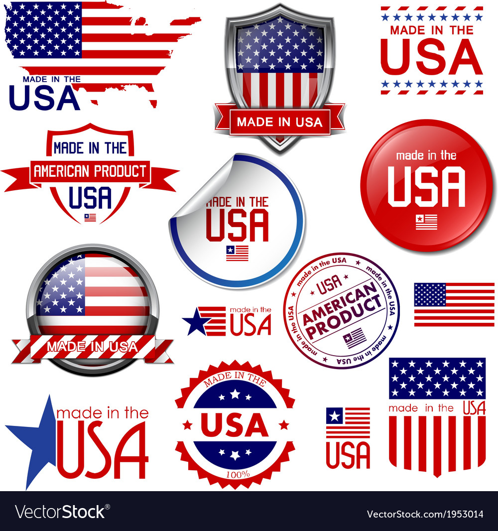 Made in the usa icons and labels vector