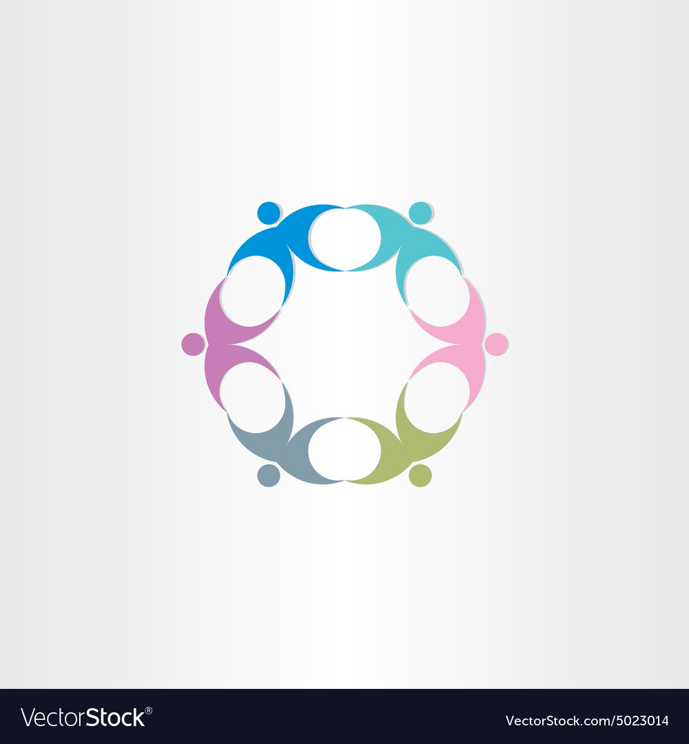 People teamwork circle icon vector
