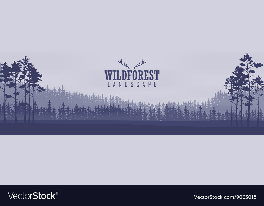Horizontal abstract banners of hills of coniferous vector