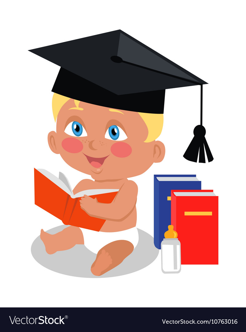 Baby sitting on floor with big book in square cap vector
