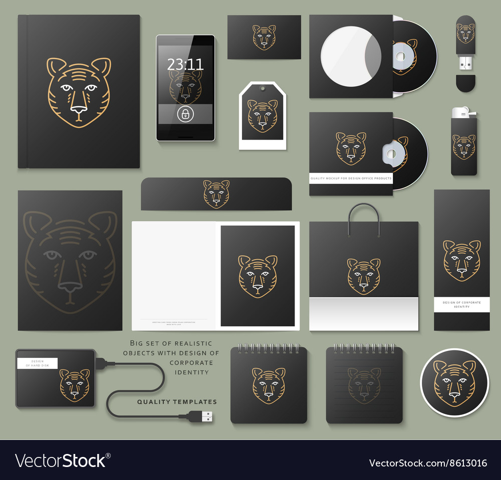 Classic branding business corporate style in black vector