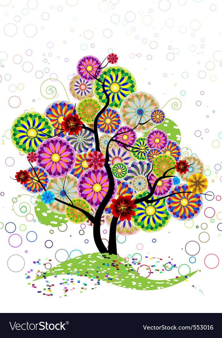 Ornamental tree of circles flowers and curled on a vector