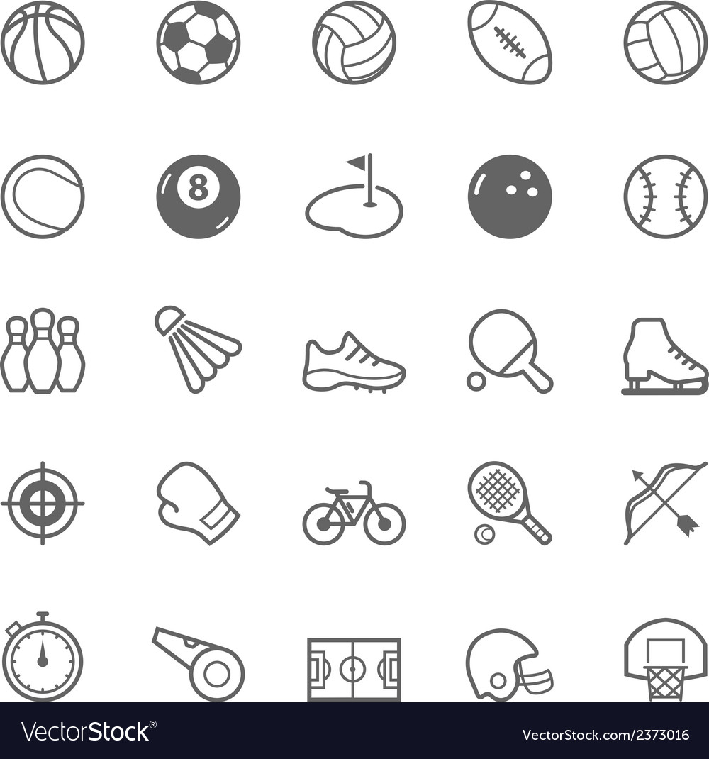 Set of outline stroke sport icon vector