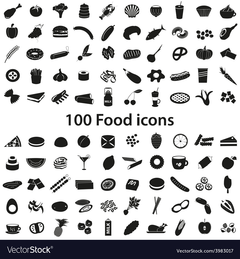 100 various food and drink black icons set eps10 vector