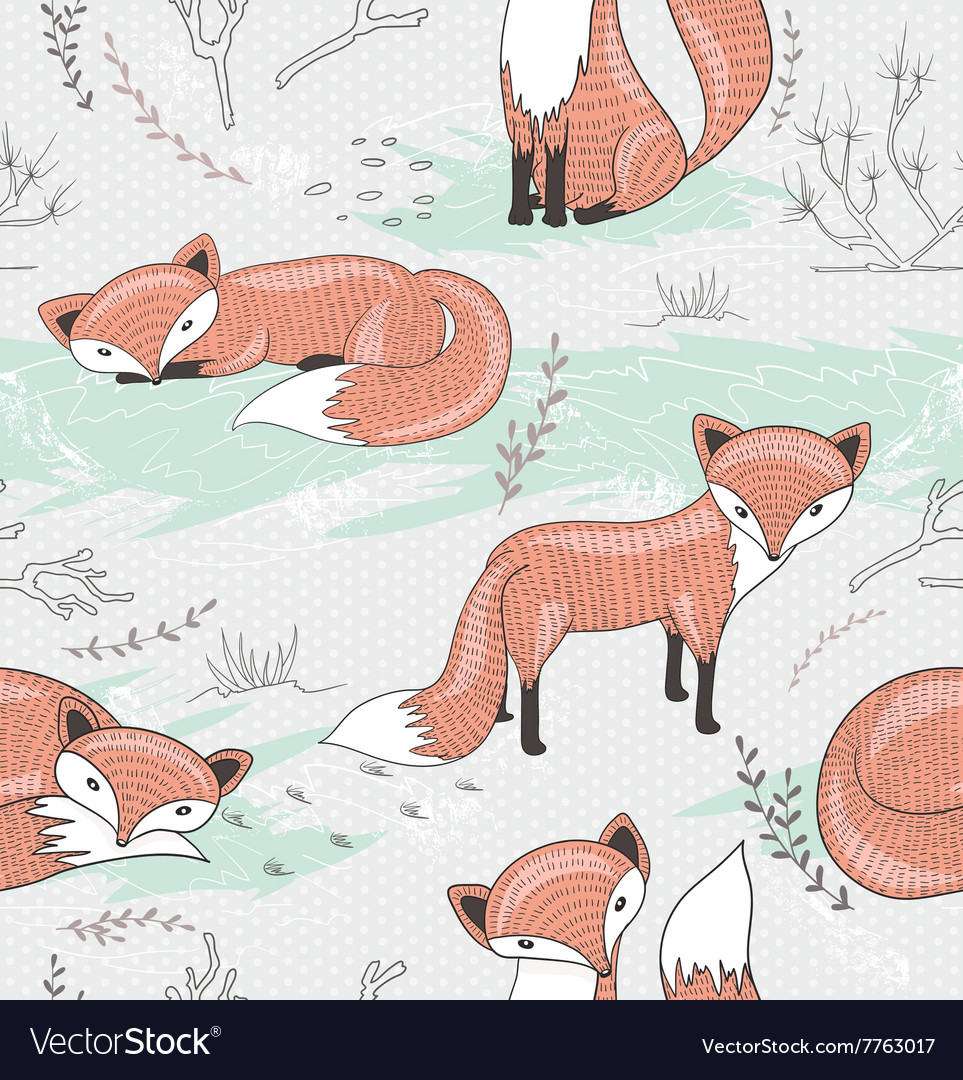Cute seamless pattern with little foxes vector