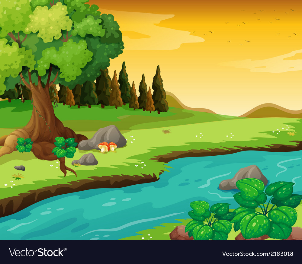 Flowing river at the forest vector