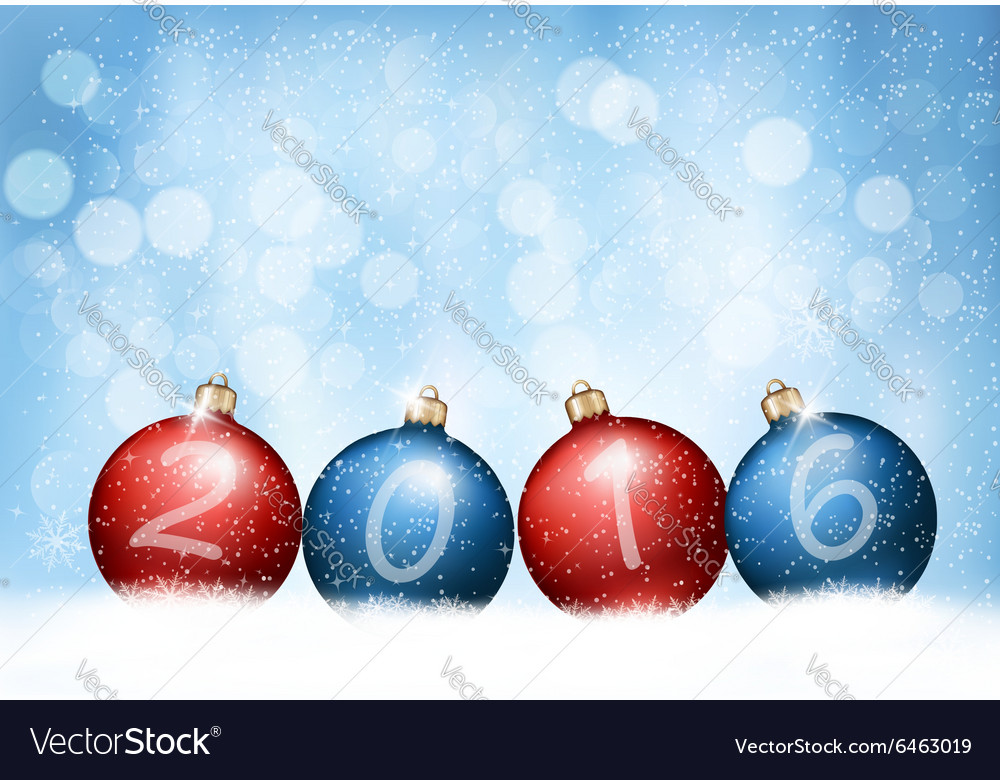 Christmas background with a 2016 made out of vector
