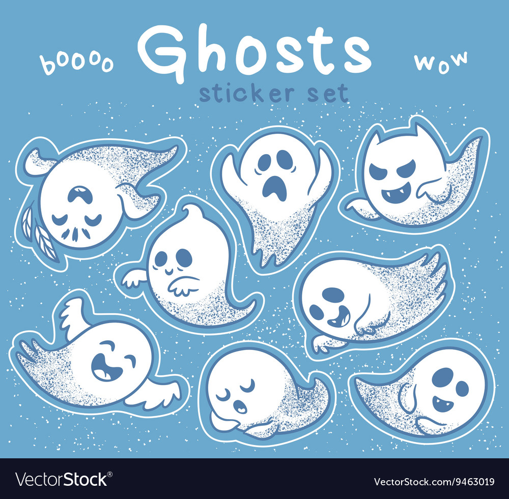 Sticker set of cute cartoon ghosts with different vector